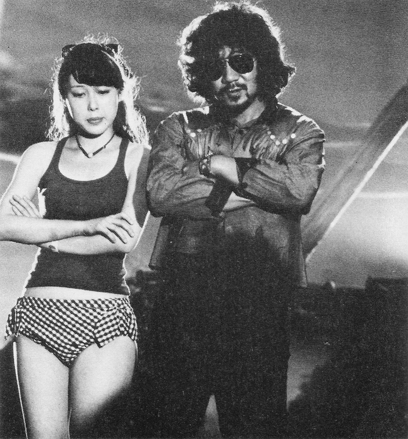 Miki Jinbo (Kung-Fu) and Nobuhiko Obayashi on the set of Hausu (House, 1977)
