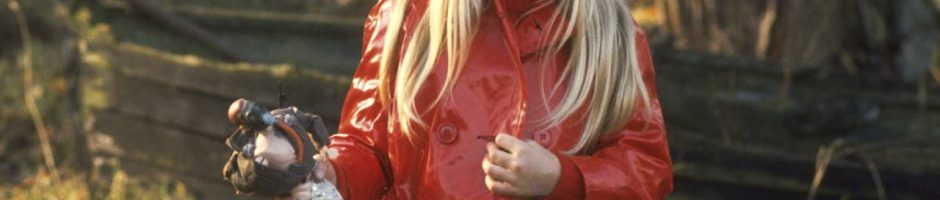 girl in red slicker
