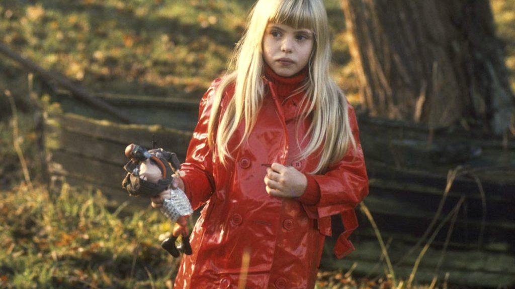 girl in red slicker