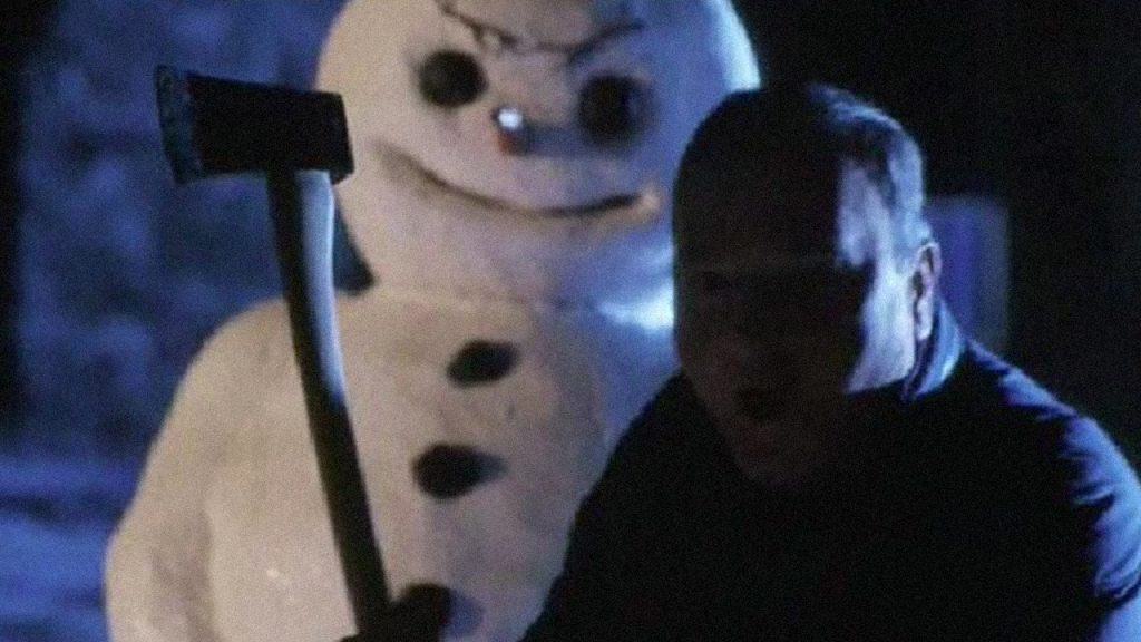 snowman stalks a guy with an ax